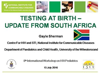 HIV TESTING AT BIRTH –  UPDATE FROM SOUTH AFRICA