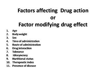 Factors affecting Drug action