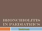 Bronchiolitis in Paediatrics